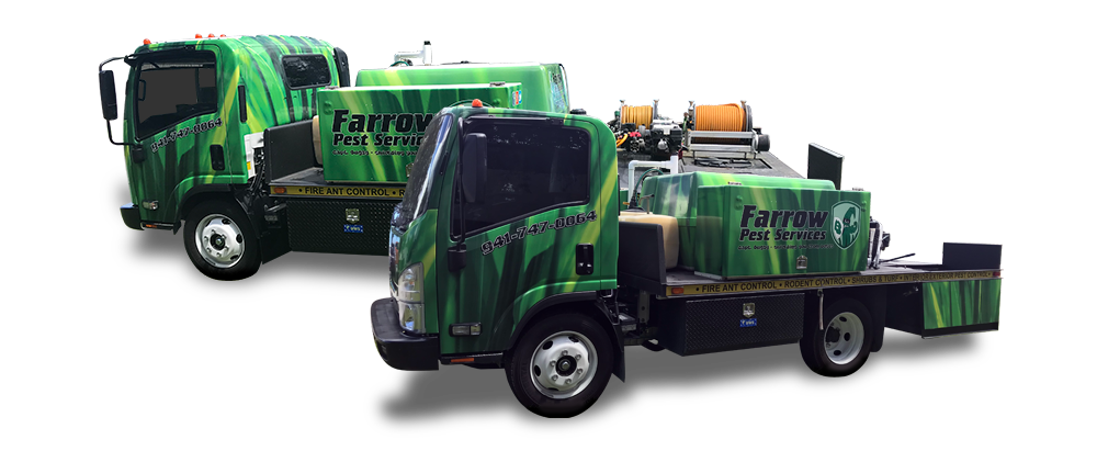 Farrow Pest Service trucks used by lawn care experts in multiple cities in Florida including Parrish, Bradenton & Sarasota